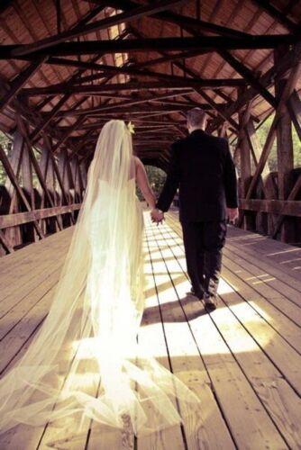 Cathedral Simple Bridal Wedding Veil white ivory cut edge veil 1 layer veil