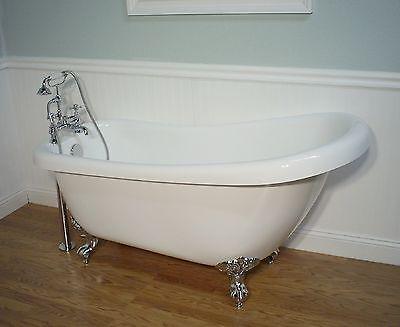 """61""""  SLIPPER CLAWFOOT BATHTUB INCLUDES FAUCET & DRAIN SET pedestal tub"""
