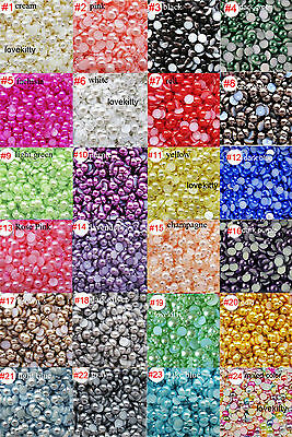 US Seller -- 24 Colors Pearl Cabochons Flatback Half Pearl (  Size 2-14 mm )