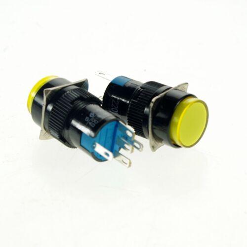 2 Push Button Switch With 12V Pilot Light Lamp 1NO 1NC 16mm Hole Latching Yellow
