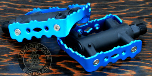 """Blue LoDo2 FiXiE Road Bike Pedals 9//16/"""" Vintage Fixed Gear Track Cruiser Bicycle"""