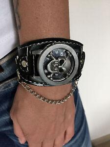 Armbanduhr-Totenkopf-Skull-Biker-Tattoo-Uhr-Watch-Herren-Damen-aufklappbar