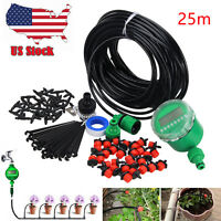 Micro 25m Drip Irrigation System Plant Self Watering Garden Hose Kits Drippers