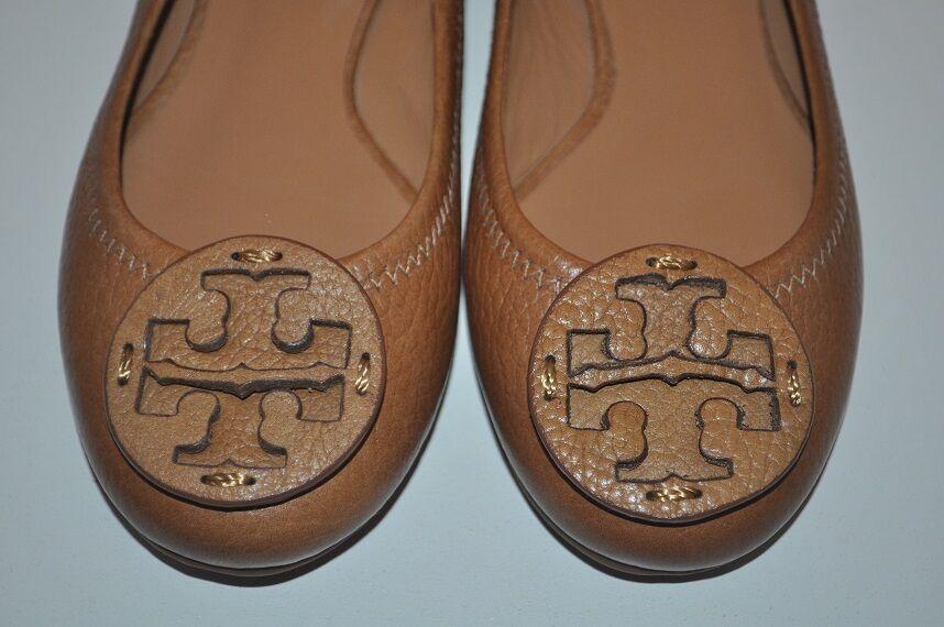 NEW Tory Burch Reva Tan Ballet Flat shoes Pebbled Leather Logo Brown Sand Sz 4.5