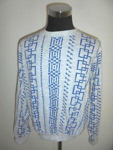 vintage-80s-NewBody-sweatshirt-pullover-oldschool-sweater-grau-crazy-pattern-M