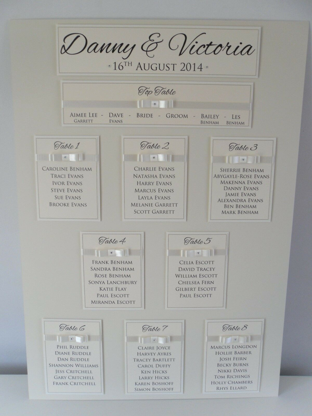 Large (A2) Handmade Personalised Personalised Personalised Luxury Satin Bow Wedding Table Seating Plan b1264e