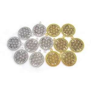 10-x-Silver-Gold-Tone-Flower-of-Life-Circle-Charms-Pendants-for-Jewellery-Making