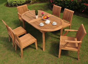 7 PC GARDEN TEAK OUTDOOR PATIO FURNITURE NEW - LAGOS DINING 6 ARMLESS DECK