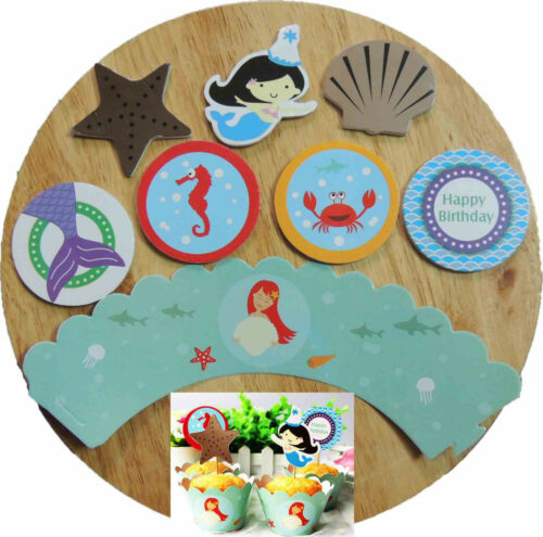 MY LITTLE MERMAID ARIEL BIRTHDAY PARTY FLAG BUNTING CUPCAKE WRAPPERS TABLECOVER