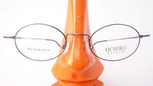 Fassung-Brille-Gestell-super-leicht-8g-oval-kleine-Form-aubergine-Metall-Gr-M