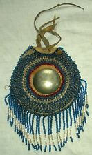 ANTIQUE c1880–1920 APACHE NATIVE AMERICAN INDIAN BEADED BELT BAG CONCHO vafo