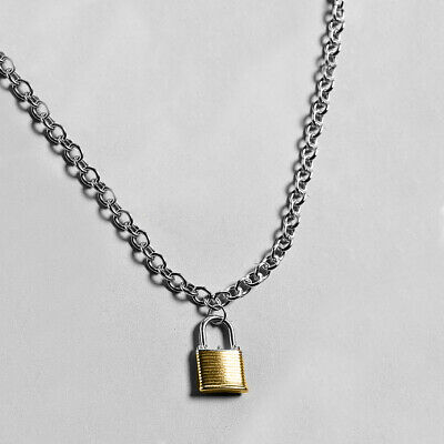 Silver Cuban Chain Choker Style Necklace Black Pad Lock Key Sid Vicious Punk