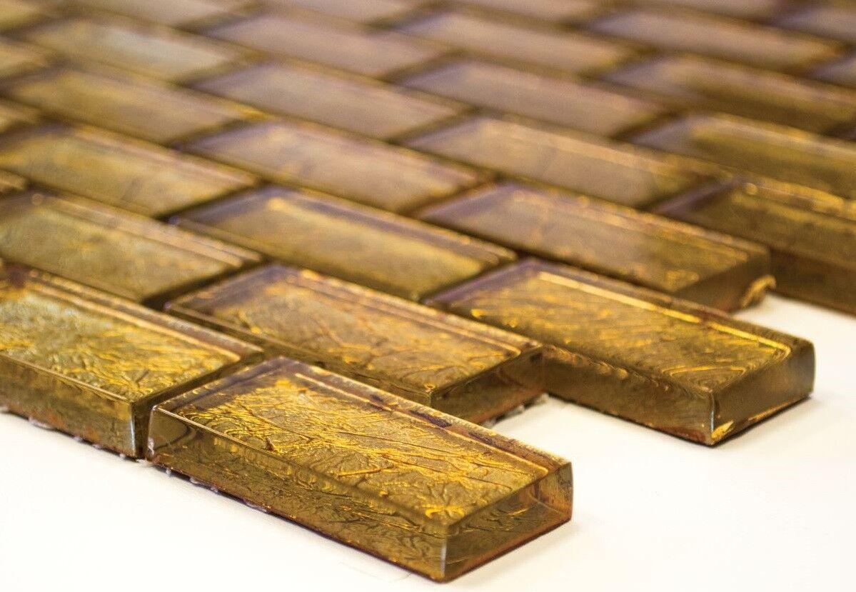 Mosaïque carreau translucide brique crystal structure or 120-0784_f | 10 plaques