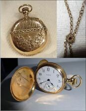 Elgin 14k Gold 15 Jewels Ornate Ladies Pocket Watch w Chain Hearts Flowers Ruby