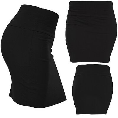 Basic Cotton Mini Skirt with Wide Waist Band