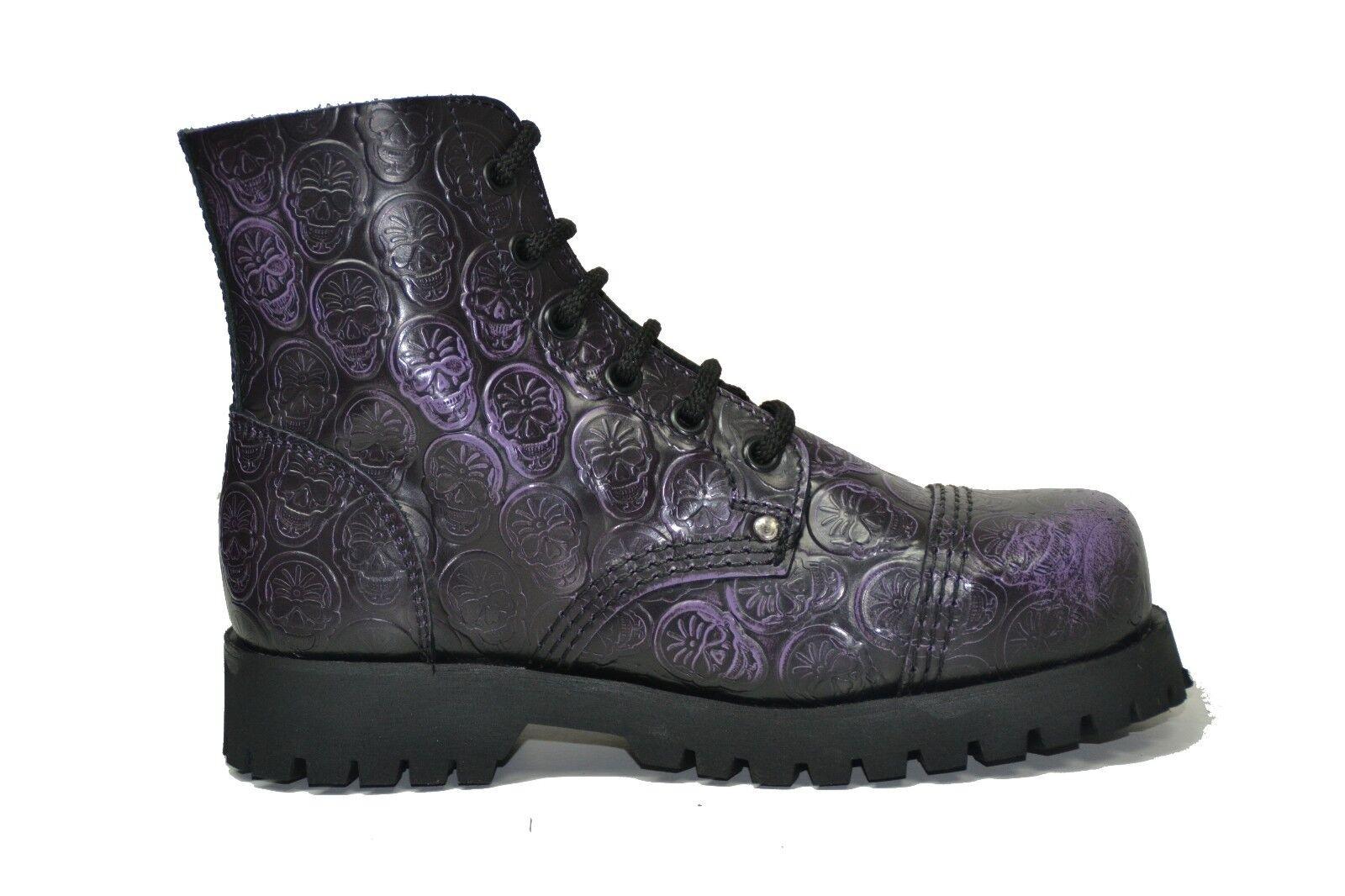 Botas de combate señoras de tierra de acero negro de cuero púrpura 6 ojos cráneos Tapa De Seguridad