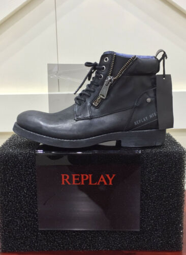 Replay Herrenschuhe Shoes Stiefeletten Schuhe Boots Ribec Schwarz Black