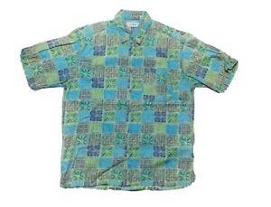 LL-Bean-Mens-Medium-Green-Hawaiian-Floral-Collared-Short-Sleeve-Button-Up-Shirt