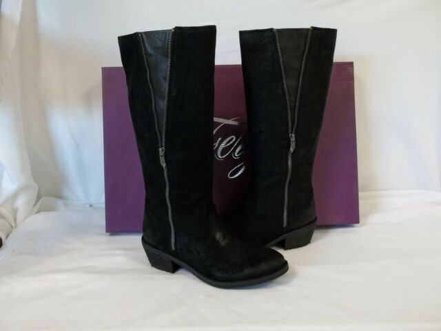 Fergie 7.5 M Camino Black Leather Knee High Boots New Womens Shoes