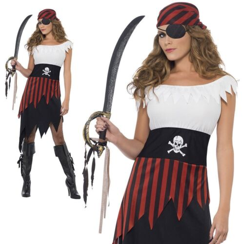 Adult Pirate Wench Lady Costume Buccaneer Ladies Female Fancy Dress Outfit