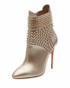 67b2150cecc7 Sz 40.5 Christian Louboutin Hongroise 85 Spiked Red Sole Booties ...