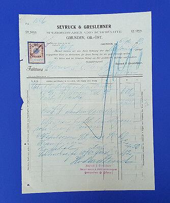 Spezereiwaren Und Südfrüchte c23 KüHn Alte Rechnung 1919 Aus Gmunden
