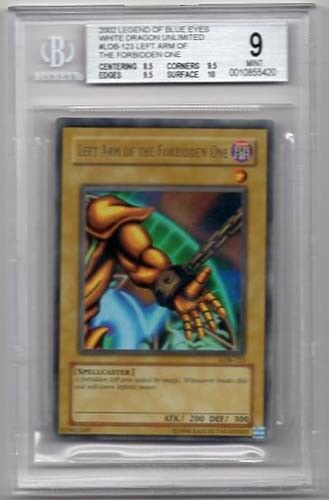 Of the FORBIDDEN uno LEFT ARM Yugioh papel de aluminio holográfico LOB-121 calificado BGS Gema menta 9.0