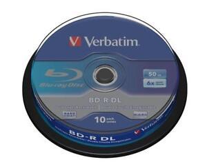10x-Verbatim-BD-R-DL-Rohlinge-50GB-6x-Schreiben-Blu-ray-Dual-Layer-Spindel