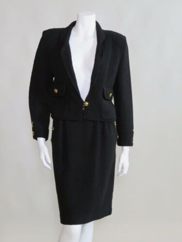 Adolfo c. 1980s Black Knit Wool Two Piece Skirt Su