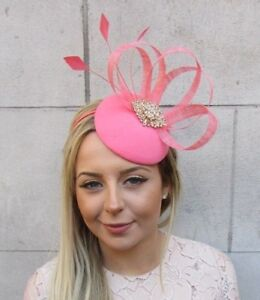 Coral Gold Sinamay Feather Pillbox Hat Hair Fascinator Wedding Races ... 58d7702077c