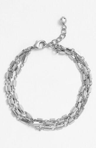 Nordstrom 130672 Women/'s Square Link Three-Row Bracelet Silver