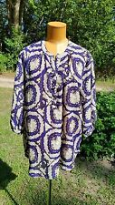 Bohemian UMGEE Tunic Blouse Hi Lo Hem Navy Tan Size 1XL NWOT