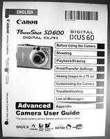 Canon Powershot Sd600 Ixus 60 Digital Camera User Guide Instruction Manual