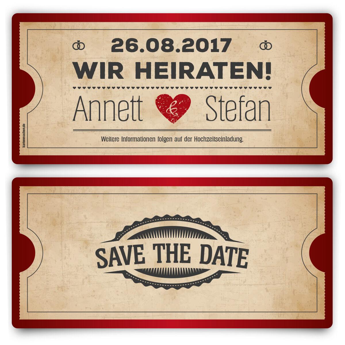 Save the Date Karten zur zur zur Hochzeit - Vintage Herz in Rot 0f4508