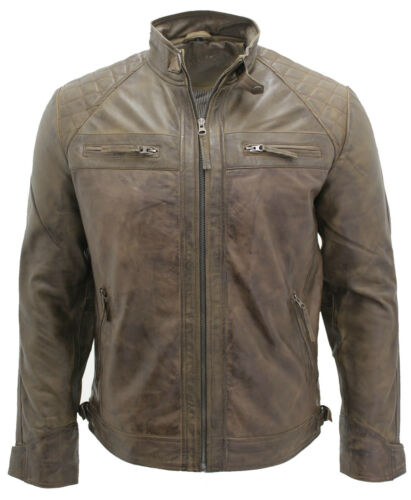 100 Leather Men's Biker Retro Quilted Racing Jacket Brown qUTE8gxw6