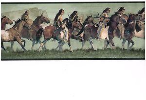 TRIBAL AMERICANS ON WILD HORSES WALLPAPER BORDER