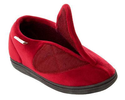Mujer Dr Keller Borgoña Rojo Ajustable ortopédica Resbalón en Zapatillas De Damas 3-8