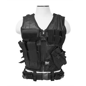 NCStar-Paintball-Airsoft-Tactical-PALS-MOLLE-Vest-Harness-XSM-SM-Black