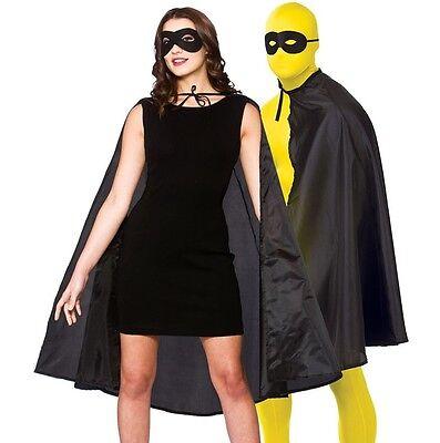 Forte Adulto Uomo Donna Unisex Costume Supereroe Kit Mantella & Maschera Nero Nuovo W Medulla Benefico A Essenziale