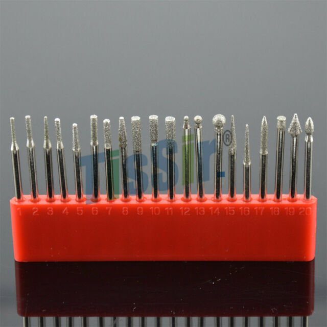 DIAMOND-ROTARY-FILE-DREMEL-BURR-LAPIDARY-SET-20PC-HIGH-QUALITY 1/8INCH Shank