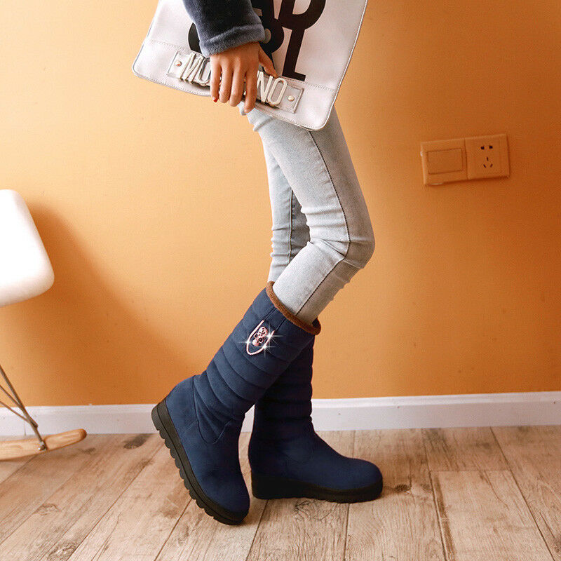 Women Ladies Mid-Calf Boots Round Toe shoes Hidden Wedge High Heel Winter Bootie