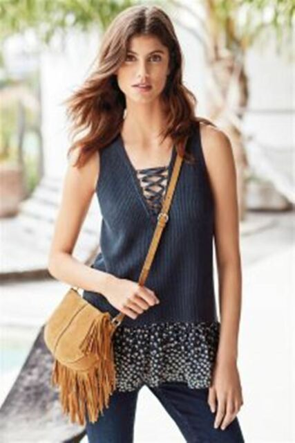 BNWT NEXT Navy Blue Knit Lace Up Sleeveless Vest Top Frill Trim Size 10