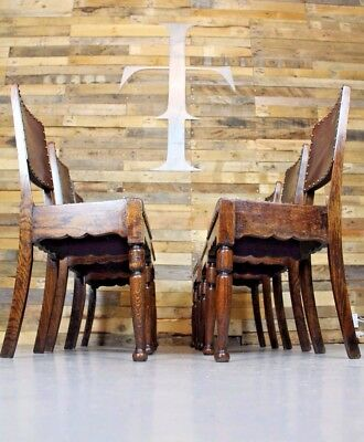 Vintage Antique Cromwellian Style Set Of Six Oak Dining Chairs