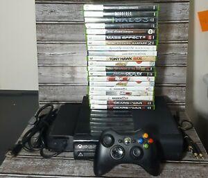 Microsoft Xbox 360 E Slim 250GB Bundle Console 1538, Controller, Cords, 20 Games