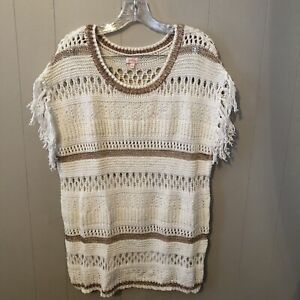 Details about EUC PIXLEY Stitch Fix Open Weave Sweater Sz M Ivory w/ Gold  Stitching & Tassels