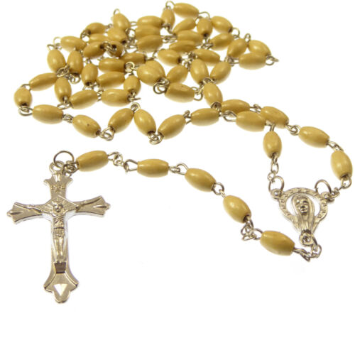 Light Brown wood oval rosary beads necklace 55cm silver center unisex long