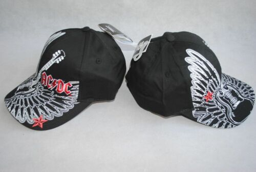 LOT OF 2 NWT AC DC YOUTH Boy Black HAT Guitar Wings baseball CAP SZ 7-16 Years