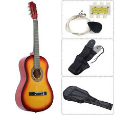 Acoustic Guitar W/ Guitar Case, Strap, Tuner and Pick for New Beginners Sun