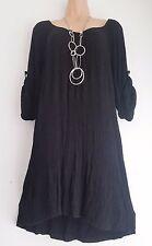 New Lagenlook Black 3/4 sleeve long tunic Dress top uk 14 16 18 20