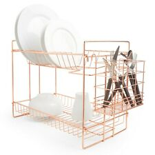 VonShef Rose Gold / Copper Dish Drainer Stand - Two Tier Rack - Plates, Utensils